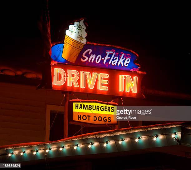 The SnoFlake Drivein is a popular spot for burgers and shakes on March 8 in South Lake Tahoe California Lake Tahoe straddling the border of...