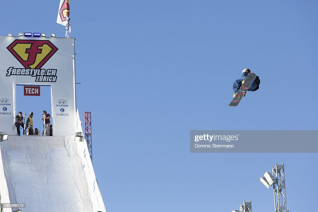The snowboarder Antoine Truchon (1st) of Canada at his final run on the Big Air jump at freestyle.ch Zurich on September 22, 2013 in Zurich, Switzerland.