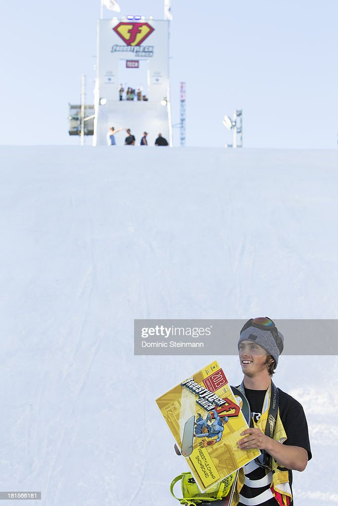 The snowboarder Antoine Truchon (1st) of Canada on the podium at freestyle.ch Zurich on September 22, 2013 in Zurich, Switzerland.