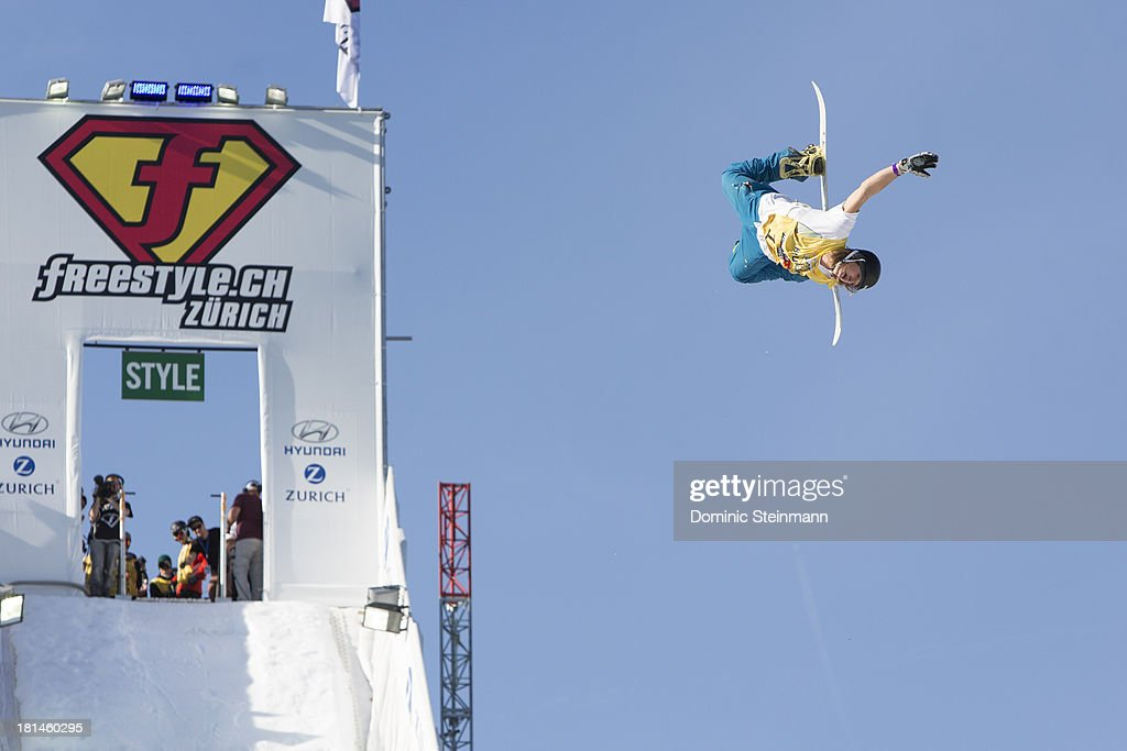 The snowboarder Patrick Burgener of Switzerland performs during the Style Session at freestyle.ch Zurich 2013 on September 21, 2013 in Zurich, Switzerland.