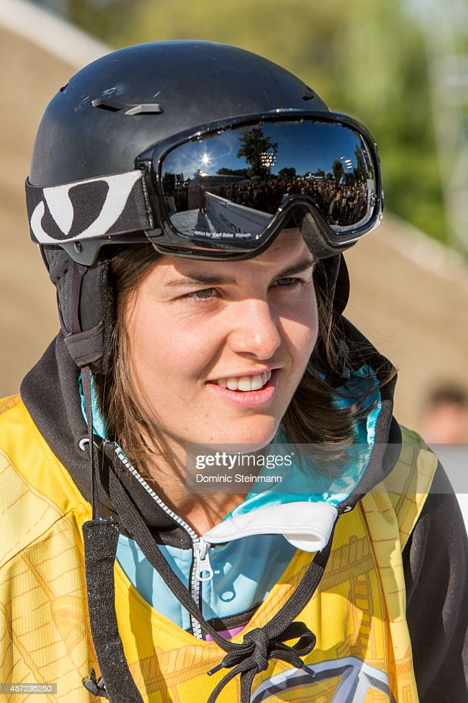 The snowboarder <a gi-track='captionPersonalityLinkClicked' href=/galleries/search?phrase=Sina+Candrian&family=editorial&specificpeople=6837040 ng-click='$event.stopPropagation()'>Sina Candrian</a> of Switzerland smiling after her run at freestyle.ch Zurich 2013 on September 21, 2013 in Zurich, Switzerland.