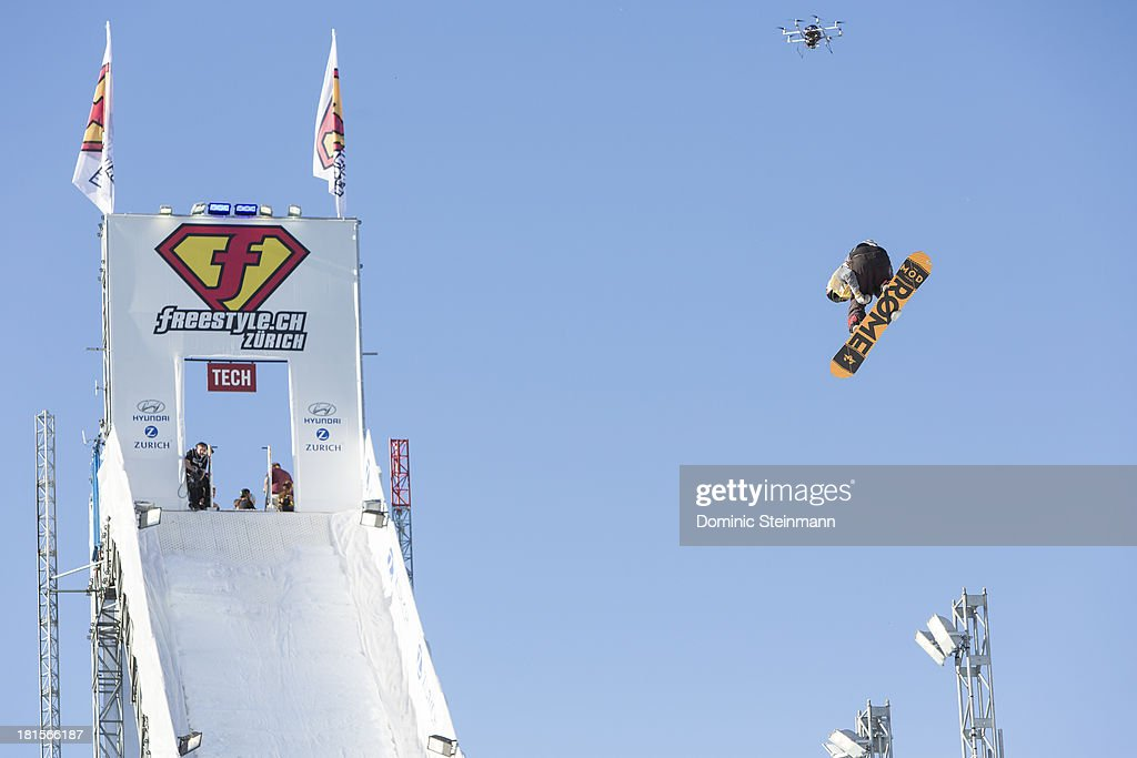 The snowboarder Stale Sandbech (2nd) of Norway at his final run on the Big Air jump at freestyle.ch Zurich on September 22, 2013 in Zurich, Switzerland.