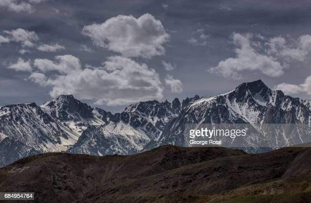 The snowcovered Sierra Nevada Mountains are viewed from Highway 395 on April 6 in Lone Pine California Owens Valley is an arid valley in eastern...