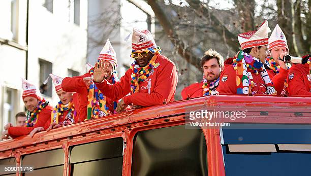 The Soccer player of the FC Cologne Anthony Modeste waves from a float during the annual Rose Monday parade on February 8 2016 in Cologne Germany The...