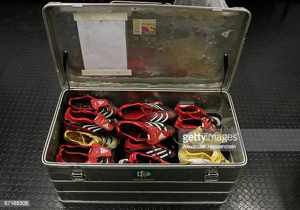 The Soccer shoes of the German National Team Players is seen in the Locker room before the international friendly match between Germany and the USA...