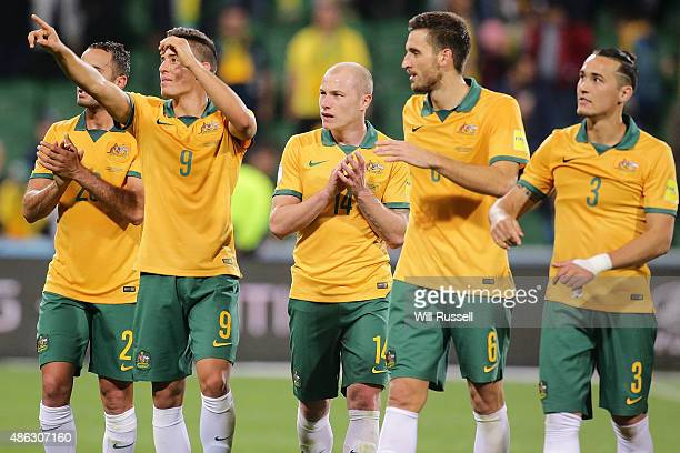 The Socceroos acknowledge the crowd after defeating Bangladesh during the 2018 FIFA World Cup Qualification match between the Australian Socceroos...