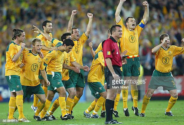 The Socceroos celebrate victory after the penalty shootout during the second leg of the 2006 FIFA World Cup qualifying match between Australia and...