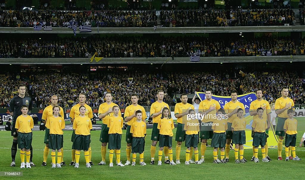 The Socceroos line up prior to the Powerade Cup international friendly match between Australia and Greece at the Melbourne Cricket Ground May 25, 2006 in Melbourne, Australia.