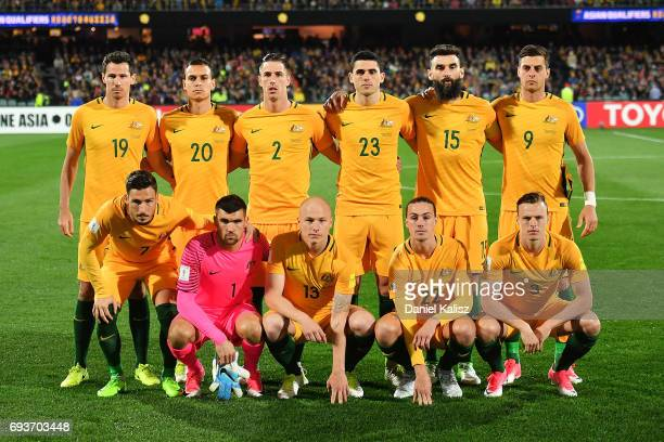 The Socceroos players pose for a photo prior to the 2018 FIFA World Cup Qualifier match between the Australian Socceroos and Saudi Arabia at the...