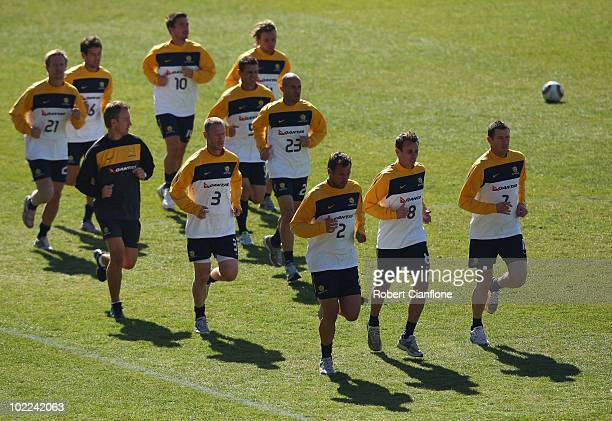 The Socceroos run laps during an Australian Socceroos training session at Ruimsig Stadium on June 20 2010 in Roodepoort South Africa