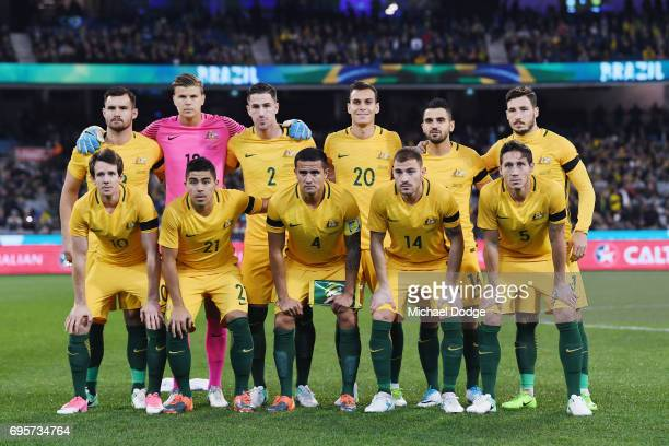 The Socceroos team pose during the Brasil Global Tour match between Australian Socceroos and Brazil at Melbourne Cricket Ground on June 13 2017 in...