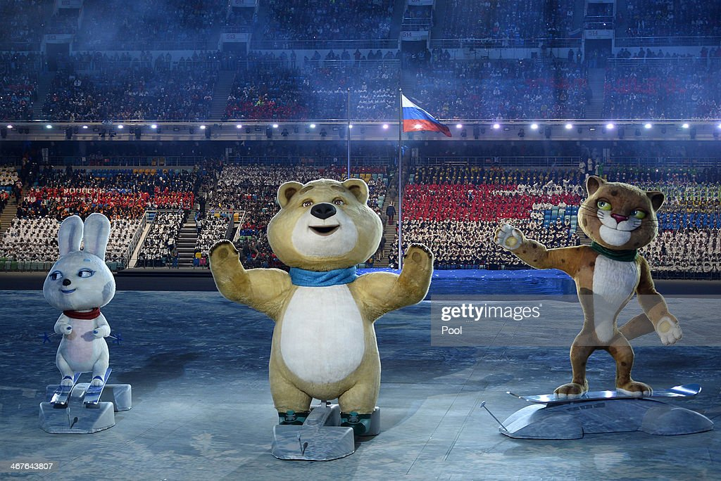 The Sochi Winter Olympic games official mascots the Leopard the Polar Bear and the Hare perform during the opening ceremony of the Sochi 2014 Winter...