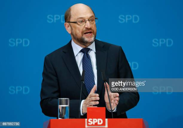 The Social Democrats Party party leader and candidate for Chancellery Martin Schulz speaks during a press conference at SPD's headquarters on June 19...