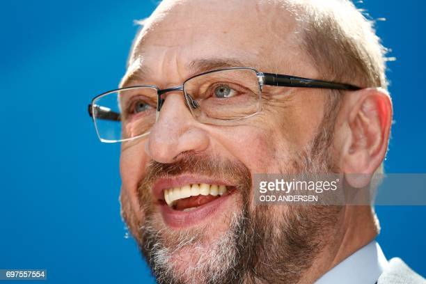 The Social Democrats Party party leader and candidate for Chancellery Martin Schulz smiles during a press conference at SPD's headquarters on June 19...