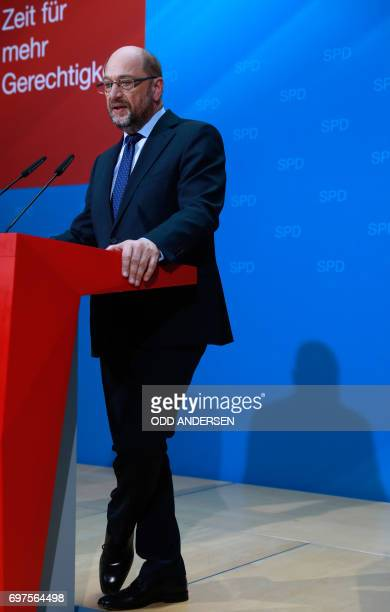 The Social Democrats Party party leader and candidate for Chancellery Martin Schulz attends a press conference at SPD's headquarters on June 19 2017...