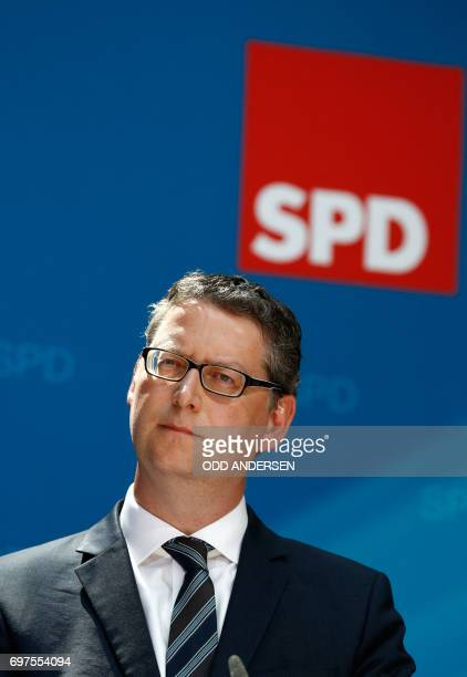 the Social Democrats Party 's vicechairman Thorsten SchaeferGuembel attends a press conference at SPD's headquarters on June 19 2017 in Berlin / AFP...