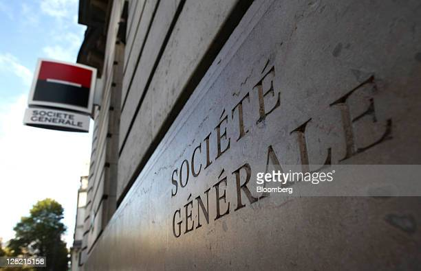 The Societe Generale name sits inscribed on the wall of the bank's offices in Paris France on Thursday Sept15 2011 French lenders top the list of...