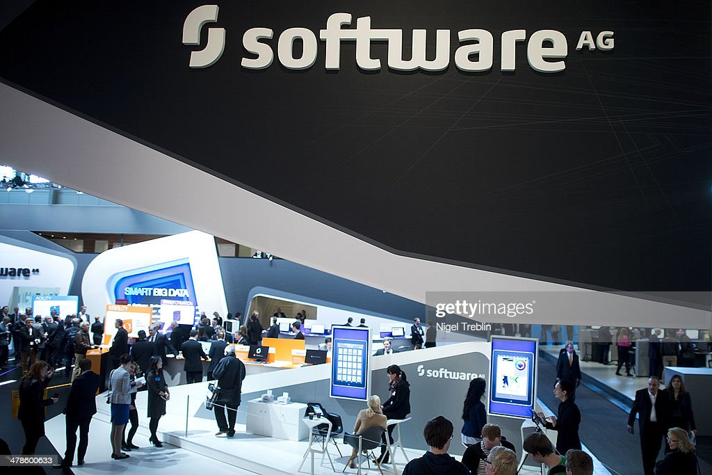 The Software AG stand is pictured at the 2014 CeBIT technology Trade fair on March 14, 2014 in Hanover, Germany. CeBIT is the world's largest technology fair and this year's partner nation is Great Britain.