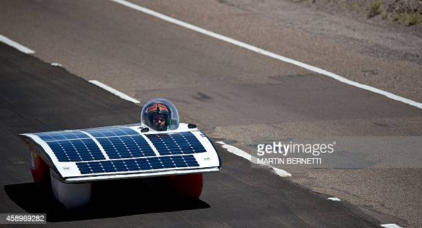 The solar car of the Chilean team Esus competes during the second stage of the Atacama Solar Challenge a solar car race in the Atacama Desert in...