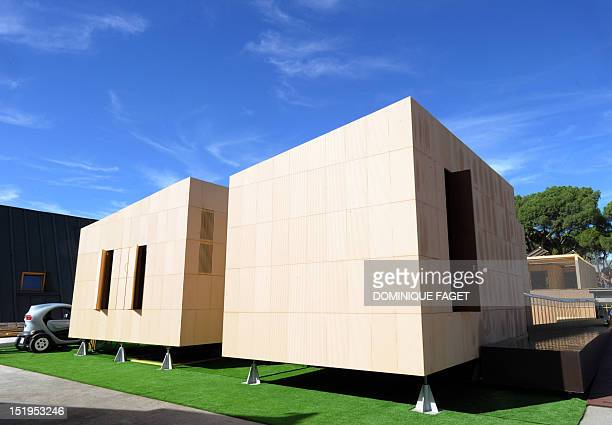 The solar house of the Spanish university Ceu Cardenal Herrera of Valencia is displayed in Madrid on September 13 2012 among other solar houses built...