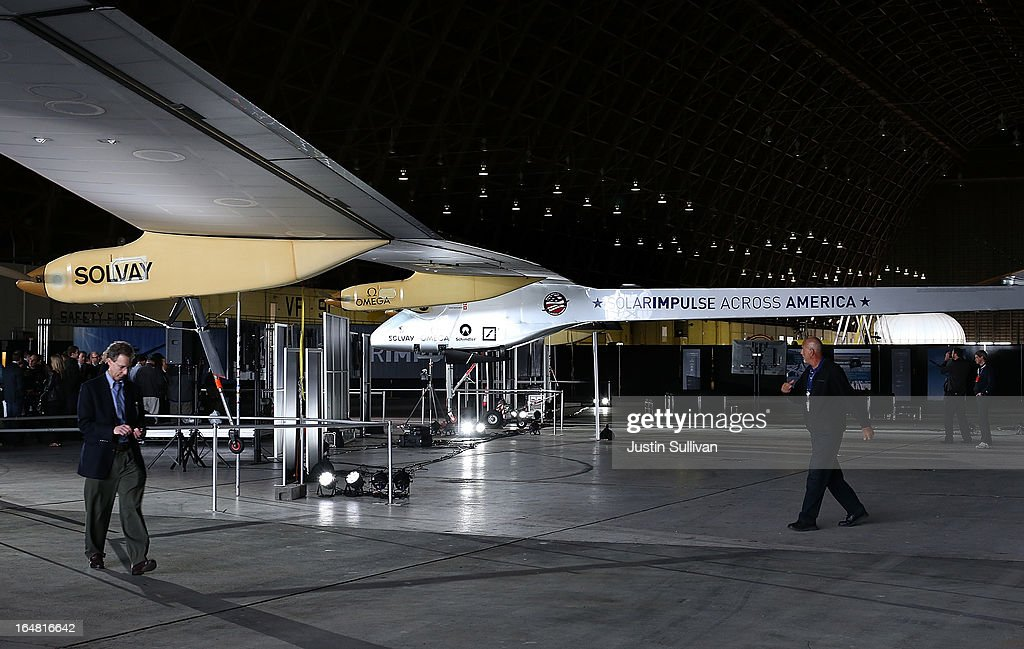 The Solar Impulse solar powered plane is displayed in a hangar at Moffett Field on March 28, 2013 in Mountain View, California. The Solar Impulse, a solor powered plane that has already made international and intercontinental flights in Europe and Africa, will begin test flights around the San Francisco Bay Area ahead of a planned flight across the United States later this year.