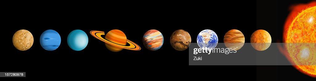 Il sistema solare (non in scala : Foto stock