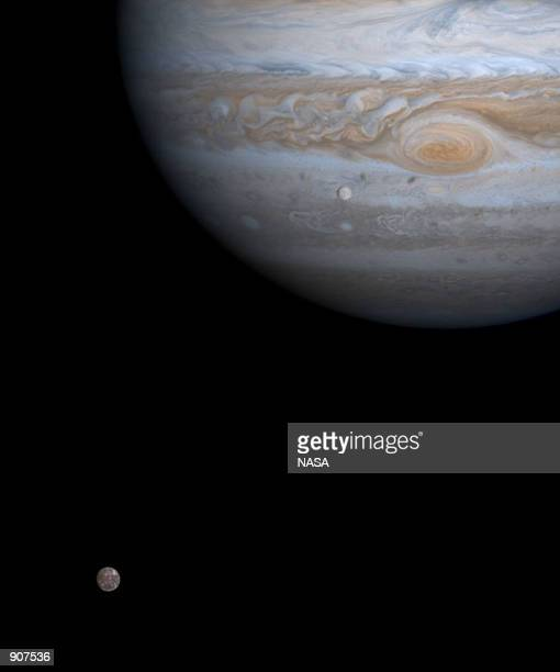 The solar system's largest moon Ganymede is captured here alongside the planet Jupiter in this picture taken by NASA's Cassini spacecraft December 3...