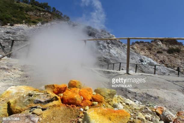 POZZUOLI NAPLES CAMPANIA ITALY The Solfatara crater part of the Campi Flegrei Volcano the biggest caldera of Italy