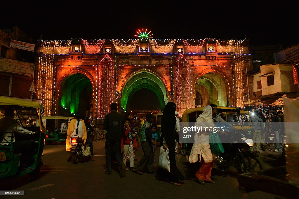 The some 600 year old 'Teen Darwaja' is illuminated ahead of Eid Milad-un-Nabi (Birth of the Prophet) in the Walled City of Ahmedabad on late January 23, 2013. Muslims across India and the globe will celebrate Eid-Un-Nabi, the birthday of prophet Muhammad on January 25. AFP PHOTO / Sam PANTHAKY