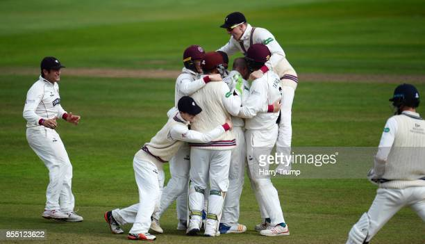 The Somerset side celebrate the wicket of Steven Finn of Middlesex meaning that they avoid relegation during Day Four of the Specsavers County...