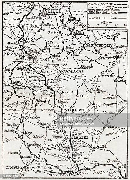 The Somme And The Ancre Map Shows Lines Occupied By The Allies From July 1916 To April 11 1917 From The Year 1917 Illustrated Published London 1918