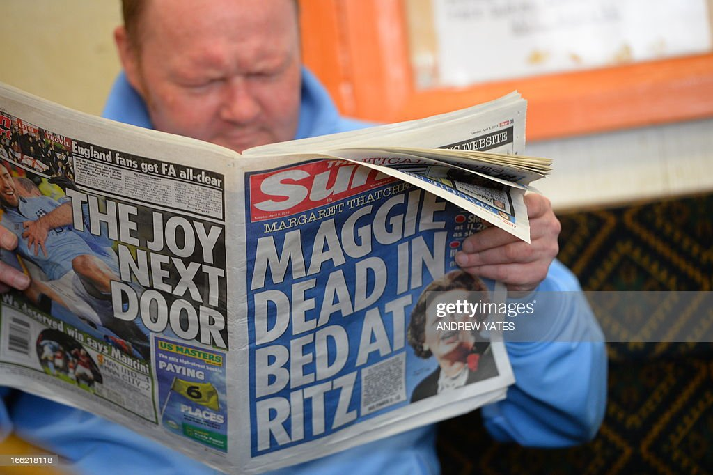 The son of a coal miner reads a newspaper reporting the death of former British Prime Minister Margaret Thatcher at the Armthorpe Social Club in Doncaster, northern England, on April 9, 2013. Mention the death of Margaret Thatcher in one of the 'working men's clubs' frequented by former coal miners in northern England, and you will be met with roars of approval. It has been 28 years since her Conservative government crushed the miners' year-long strike, ending one of the most bitter industrial battles in British history.