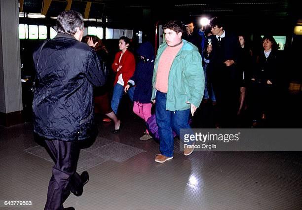The son of Salvatore Riina aka Toto Riina Giovanni Riina and other relatives visit the mafia boss at the prison of Rebibbia on April 15 1993 in Rome...