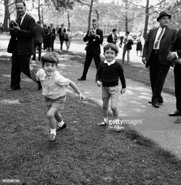 The son of the late American President John F Kennedy John Jr with his cousin Anthony in London for the inauguration of the memorial to the late John...