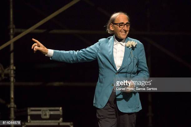 The songwriter composer and Italian director Franco Battiato performs at the La Malagueta bullring on July 13 2017 in Malaga Spain