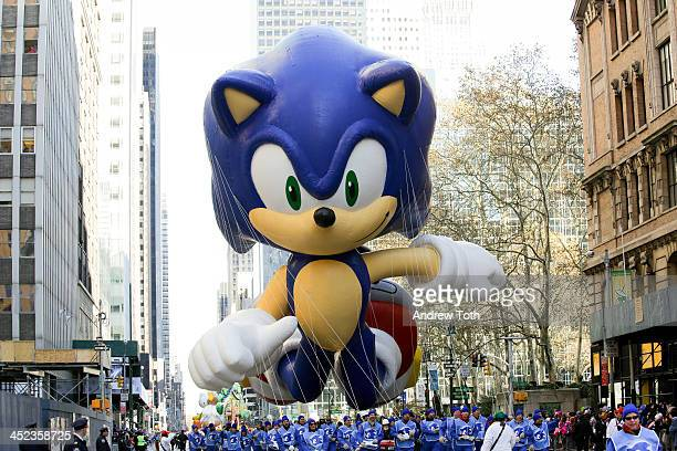 The Sonic the Hedgehog balloon is seen during the 87th Annual Macy's Thanksgiving Day Parade on November 28 2013 in New York City