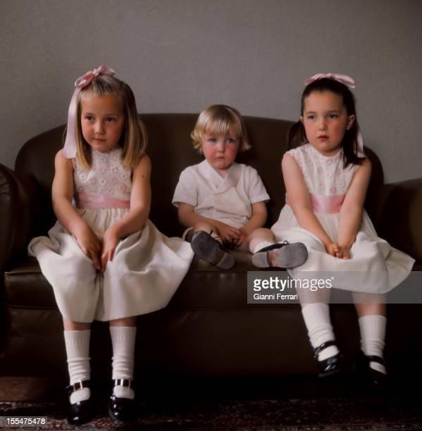 The sons of princes Carlos of Borbon Dos Sicilias and Anne of Orleans Cristina Pedro and Maria Madrid Castilla La Mancha Spain