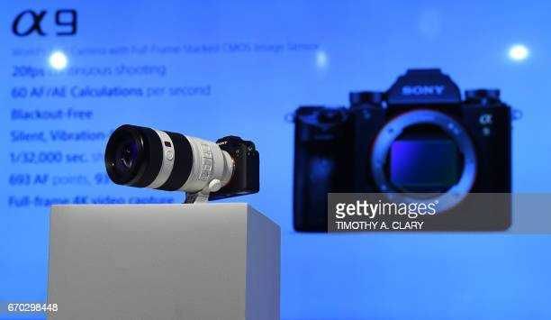 The Sony A9 mirrorless full frame camera highend full frame mirrorless camera with the Sony FE 100400 F4556 GM lens is shown to the press during a...