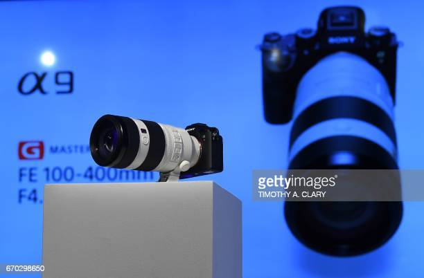 The Sony A9 mirrorless full frame camera highend full frame mirrorless camera is shown with the Sony FE 100400 F4556 GM lens to the press during a...