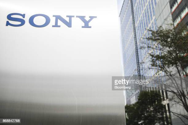 The Sony Corp logo is displayed at the company's headquarters in Tokyo Japan on Wednesday Nov 1 2017 The AIenabled canine 'aibo' comes equipped with...