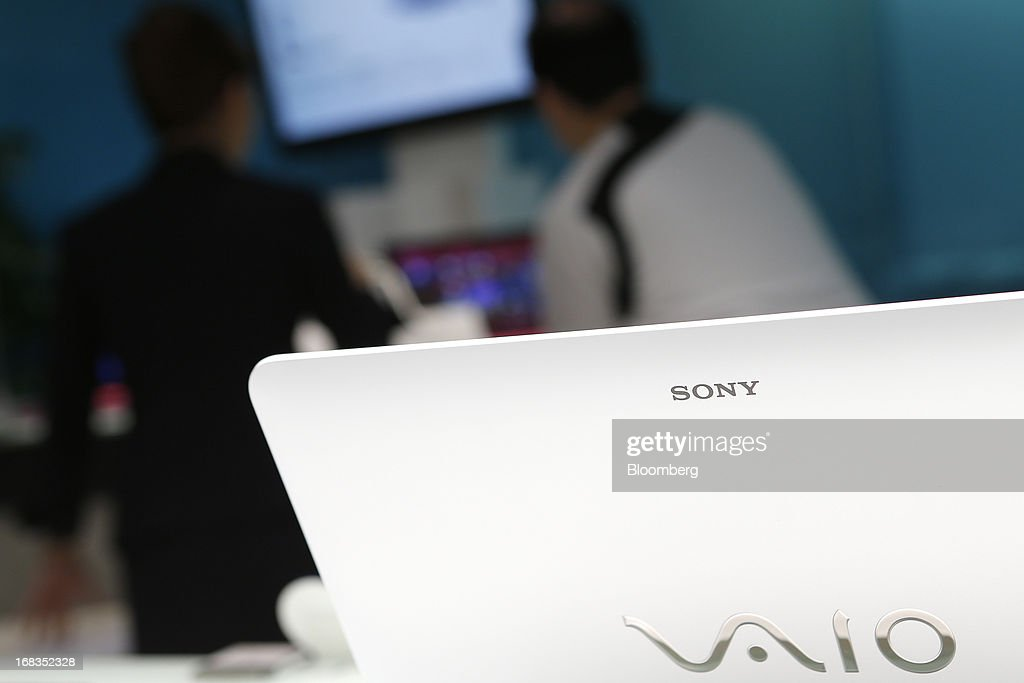 The Sony Corp. logo is imprinted on the cover of a Vaio laptop computer displayed at the company's showroom in Tokyo, Japan, on Thursday, May 9, 2013. Sony forecast a smaller-than-expected annual profit as its Xperia smartphones and Bravia TVs struggle to regain market share from Apple Inc. and Samsung Electronics Co. Photographer: Kiyoshi Ota/Bloomberg via Getty Images
