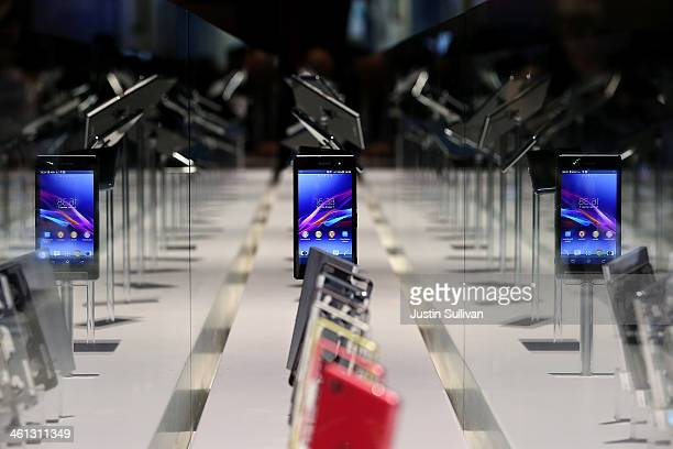 The Sony Xperia Z1 compact smartphone is displayed in the Sony booth at the 2014 International CES at the Las Vegas Convention Center on January 7...