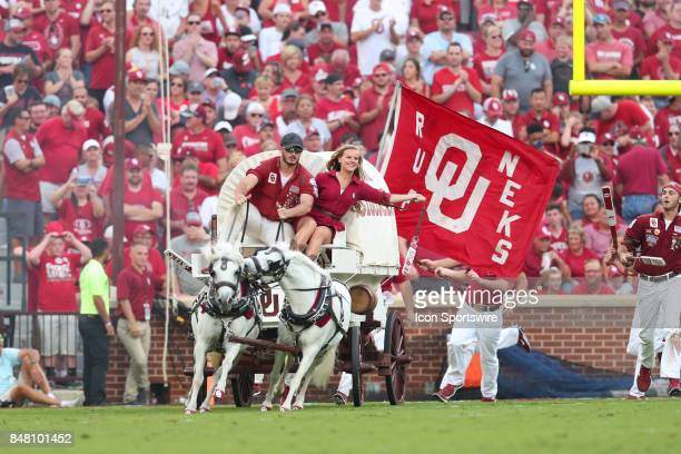The sooner schooner runs onto the field during a college football game between the Oklahoma Sooners and the Tulane Green Wave on September 16 at the...