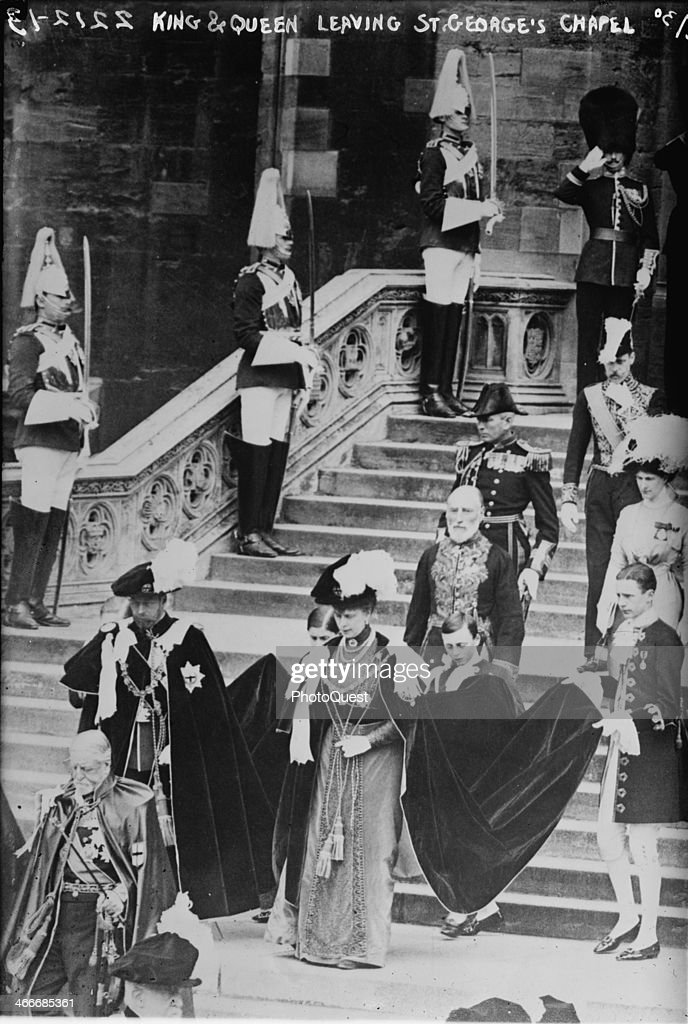 The soon-to-be King of England, <a gi-track='captionPersonalityLinkClicked' href=/galleries/search?phrase=George+V&family=editorial&specificpeople=93661 ng-click='$event.stopPropagation()'>George V</a> (1865 - 1936), and his wife <a gi-track='captionPersonalityLinkClicked' href=/galleries/search?phrase=Mary+of+Teck&family=editorial&specificpeople=220599 ng-click='$event.stopPropagation()'>Mary of Teck</a> (1867 - 1953) leaving the St George's Chapel at Windsor Castle after <a gi-track='captionPersonalityLinkClicked' href=/galleries/search?phrase=Edward+VIII&family=editorial&specificpeople=91306 ng-click='$event.stopPropagation()'>Edward VIII</a> (1894 - 1972), the Prince of Wales (and future Duke of Windsor) behind the royal couple), was invested with the Order of the Garter, London, England, June 22, 1911. This event was one of several state functions leading up to <a gi-track='captionPersonalityLinkClicked' href=/galleries/search?phrase=George+V&family=editorial&specificpeople=93661 ng-click='$event.stopPropagation()'>George V</a>'s coronation at Westminster Abbey.
