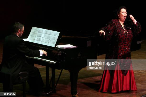 The soprano Montserrat Caballe accompanied by the pianist Manuel Burgueras performing at Avery Fisher Hall on Friday night February 14 2009