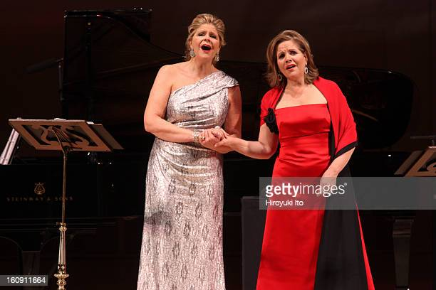 The soprano Renee Fleming and the mezzosoprano Susan Graham accompanied by the pianist Bradley Moore performing at Carnegie Hall on Sunday night...