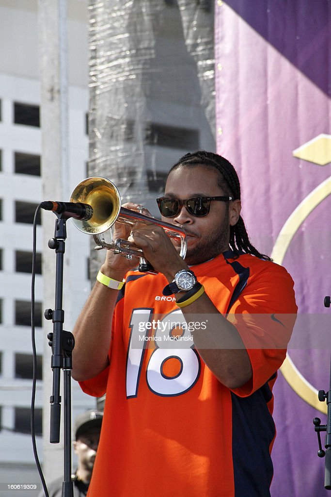 The Soul Rebels Brass Band trumpeter Julian Gosin performs during the Verizon Super Bowl Boulevard at Woldenberg Park on February 3, 2013 in New Orleans, Louisiana.