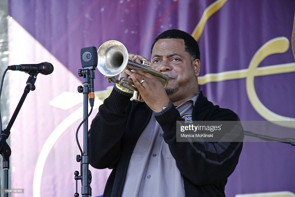 The Soul Rebels Brass Band trumpeter Marcus Hubbard performs during the Verizon Super Bowl Boulevard at Woldenberg Park on February 3, 2013 in New Orleans, Louisiana.