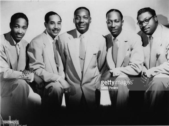 The Soul Stirrers LR Sam Cooke JJ Farley SR Crain RB Robinson and Paul Foster pose for a studio group portrait in 1950 in the United Sattes