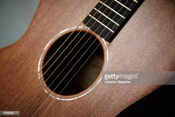 The soundhole and fretboard of an Atkin AA AM Special acoustic guitar photographed during a studio for Guitarist Magazine March 29 2012